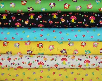 Timeless Treasures - Momo by Alice Kennedy - Mushrooms, Owls and Apples - fat quarters, 6 pieces