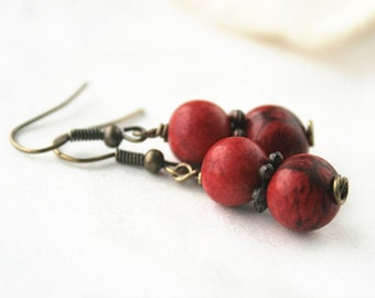Acai Bead Earrings - Eco-Friendly Jewelry - Fair Trade Gift - Casual Earrings - Organic Jewelry - Red Earrings - Sustainable Jewelry