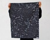 Organic Baby Blanket in Night Sky Stars - Childrens Bedding Blanket for Eco Friendly Kids in Dark Navy Blue with Galaxy Constellations