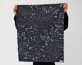 Reserved for sel3610 - Organic Baby Blanket in Night Sky Stars - Blanket for Eco Friendly Kids in Dark Navy Blue with Galaxy Constellations