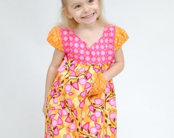 Girl's Peasant Dress, Girls Dresses, Party Dress, Children Clothing, Toddler dress, Birthday, Pink, Flower Girl dress, Size 2/3 4/5 6/7 8