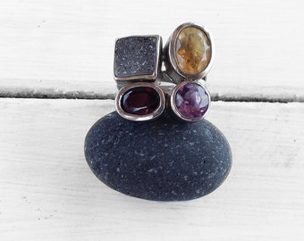 Multi Gemstone Ring, Sterling Silver Natural Gemstones Druzy Agate Citrine Amethyst Garnet, Large Cocktail Ring Size 7, Gemstone Jewelry