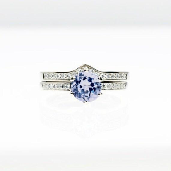 engagement ring set light blue sapphire engagement Diamond