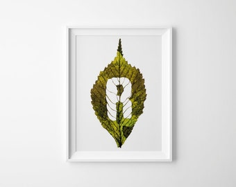 Monogram Letter R – Autumn Leaf Photography – Initial Art – Gift for Her – Fall Decor – Wall Art – Initial Gift – 21 x 30 cm or 30 x 40 cm