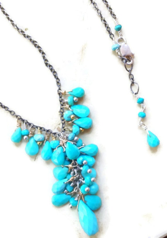 Kingman Arizona Turquoise Briolette Necklace  Sleeping Beauty Turquoise Cluster Necklace Mixed Metal  December Birthstone
