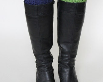 hand-knitted 2-in-1 boot cuffs/ boot toppers/ boot buffers/ grass green and navy blue color