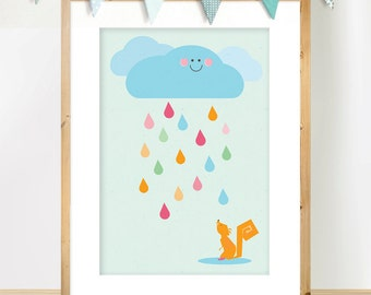 Raindrops print, Cloud Decor, Nursery Animal Art, Scandinavian Nursery Art print, Pastel Colours Poster, Squirrel Illustration,  A3 Poster