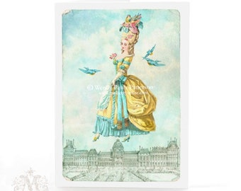 Marie Antoinette, card, Paris, sky line, blue birds, birthday card, French card, yellow, aqua blue, clouds, vintage style, blank card