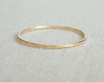 Solid 14k White or Yellow or Rose or Green Gold Delicate Stack Ring - Simple Thread of Gold - Wavy or Straight - Tiny Halo Hammered Stack Ri
