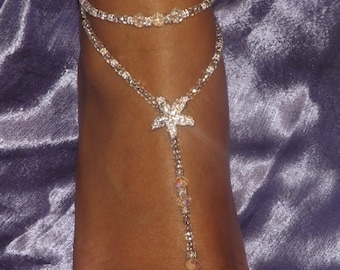 Clear Crystal Foot Jewelry Wedding Starfish Jewelry Beach Wedding Barefoot Sandals Anklet Bridesmaids Gift Wedding Thongs