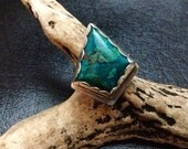Handcrafted Sterling Silver and Chrysocolla Bohemian Ring