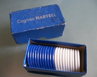 Vtg French Gaming Counters Jetons Cognac MARTELL plus Box