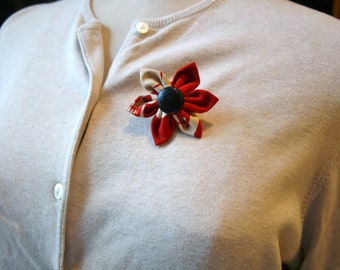 Red Fabric Flower Brooch, Flower Pin - Handmade Fabric Flower