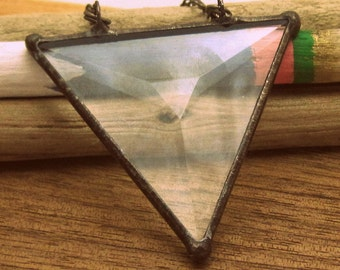 10 piece wholesale....Beveled Stained Glass Geometric Pendant - Triangle