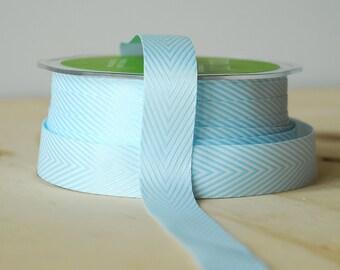 Light Blue Chevron Twill Tape Ribbon .75 Inch Chevron Stripe Ribbon 5 Yards by May Arts