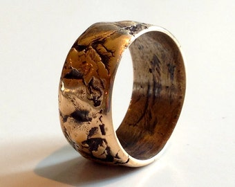 Bronze Ring Band Layered Natural Irregular Edges Unisex Mens Lady Wedding Shapes #1002