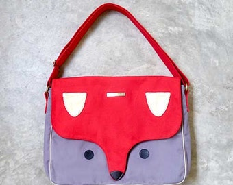 FOX Messenger Bag, Unisex Messenger Bag, Padded Laptop Crossbody Bag with Pockets, Macbook Messenger Bag, Laptop Bag (RED GRAY Bag))