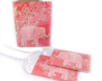 Travel Set -  luggage tags and passport cover - Mehndi Elephants - cute coral and peach passport holder and baggage tags