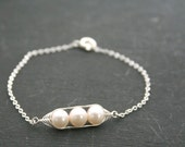 Peapod bracelet. Peas in a pod with white freshwater pearls. Mothers day gift Peapod jewelry