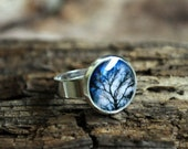 Twilight Trees Resin Ring 12mm Silver Plated