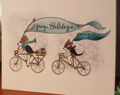 Reserved for David - 1 Beagles on Bikes card and envelope
