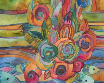 Stream of consciousness Watercolor by Megan Noel