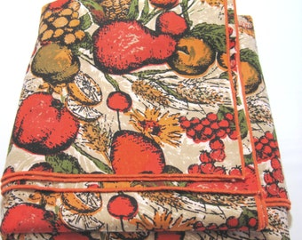 Vintage Bright Orange Gold and Tan Fruit Print 50 Inch Square Table Cloth