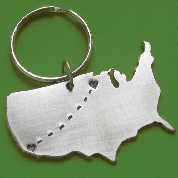 Custom Personalized Mens Womens Gift USA Long Distance Love Travel Map Keychain