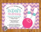 Bowling Party Birthday Invitation, Girls Girly Bowling Personalized Invite Bright Pink Purple Polka Dots (190g)