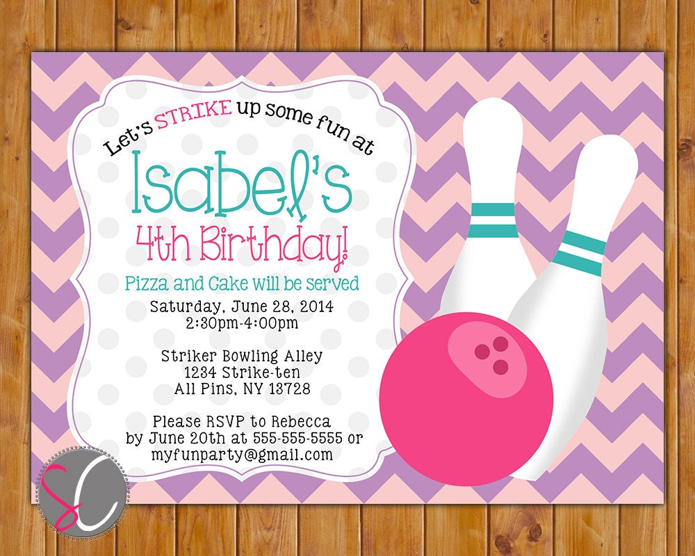 bowling party birthday invitation girls girly bowling