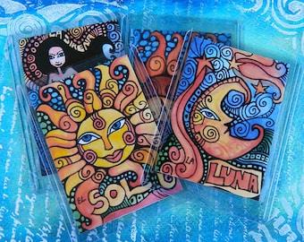 Set of 6 Popular Loteria Card Prints - Moon, Sun, Mermaid, Pear, Frog, Hand - ACEO / ATC