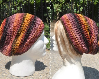 Crochet Slouchy Hat - Unisex  Crochet Hat - Loose Fitting Unisex Multicolored Skullcap - Crochet Beanie Hat