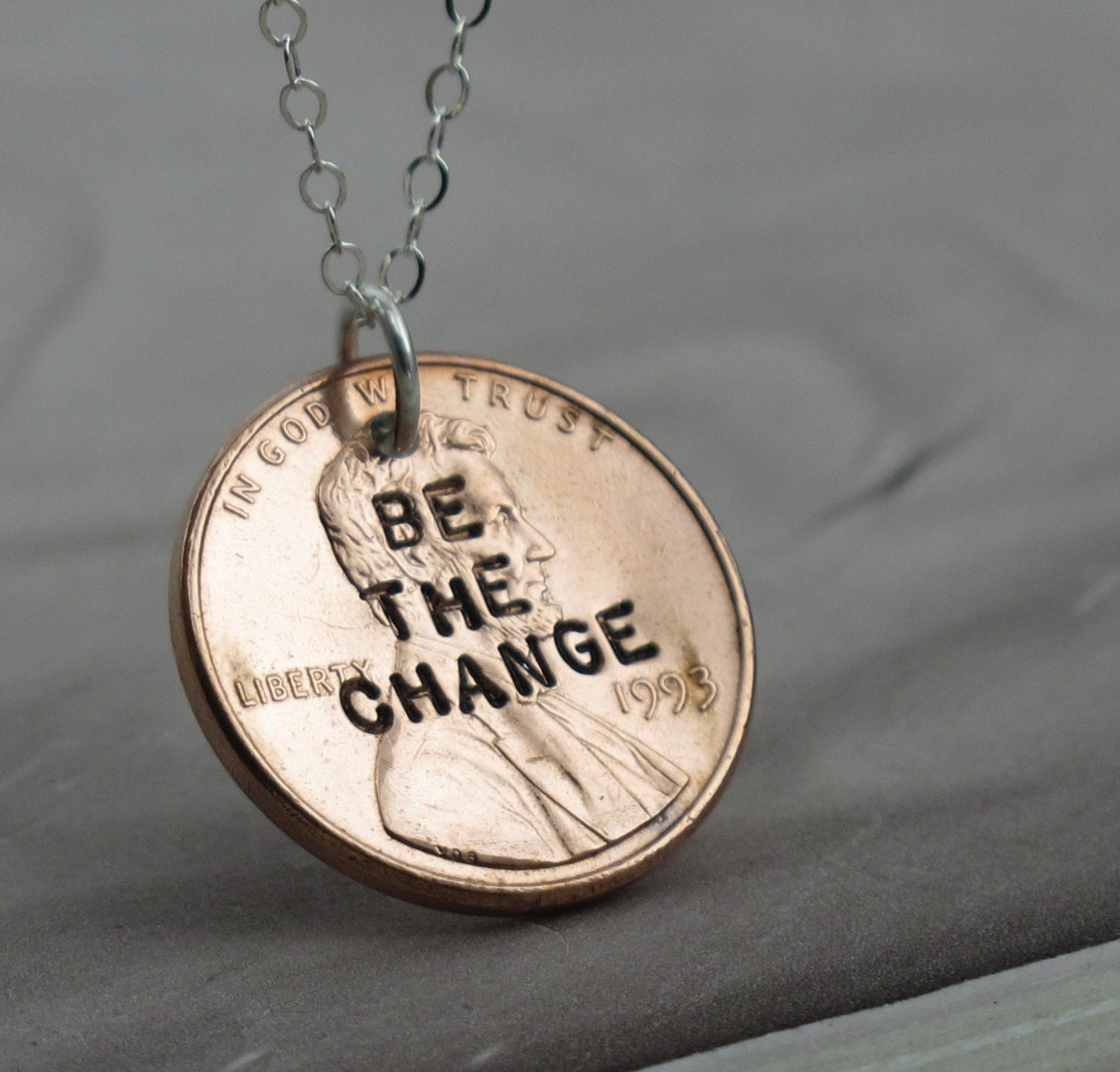 Be the change penny necklace sterling silver with a coin for How do you make hand stamped jewelry