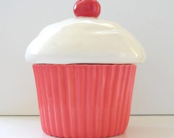 Cupcake Cookie Jar Ceramic Strawberry Coral Pink Vintage Design Makes a Great Housewarming Birthday Gift