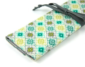 Large Knitting Needle Case - Stacy - gray pockets for circular, straight, dpn, or paint brushes