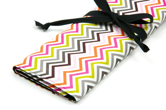 Large Knitting Needle Case - Hot Chocolate with 30 black pockets for straights, circular, double pointed or paint brushes