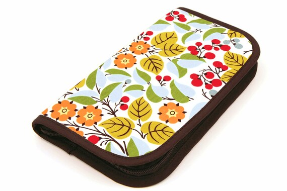 Travel Zip Around Knitting Needle Case - Holly - brown pockets with clear zipper pouch for notions or circulars