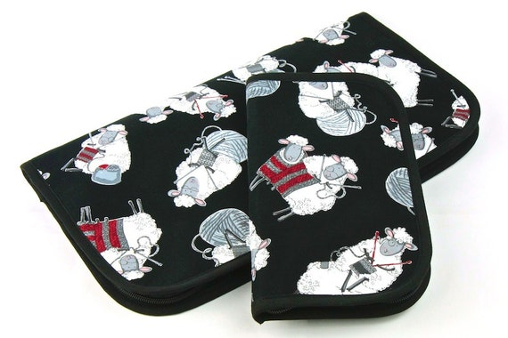 Zip Around Knitting Needle Case - Black Sheep