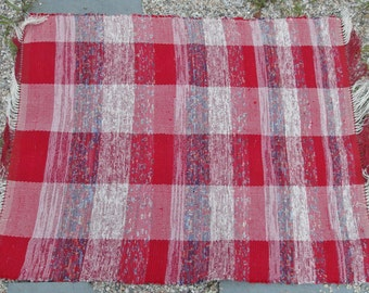 Red and white primitive hand woven rag rug - handwoven recycled fabric rug - recycled rag rug -  red and white with blue accents