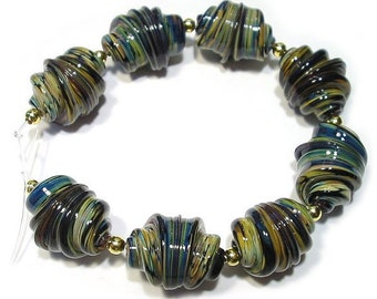 Raku Whirled  Glass Lampwork Beads