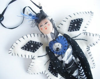 Fairy Doll OOAK Black and White fabric doll