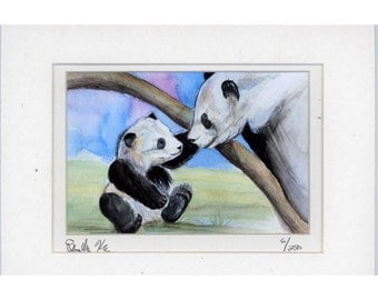 Mother and Baby Panda Bear Print signed matted numbered  ready to frame