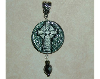 Sparkly Irish  Celtic Cross Pendant Hand Made