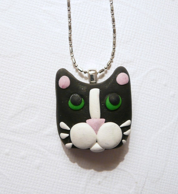 RESERVED - SPECIAL ORDER Tuxedo Cat Necklace Black and White plus two black ball chains