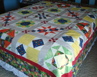 Primary Color Sampler Quilt Top Ready for Quilting Queen Size
