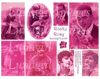PINK TINTED flapper postcards digital collage sheet DOWNLOAD 1920s vintage images photos romantic couples man altered art ephemera French