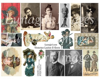 VICTORIAN LADIES MEN digital collage sheet vintage images women people photos antique pictures altered art cards ephemera Download supplies