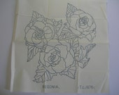 Vintage iron on embroidery transfers Begonia