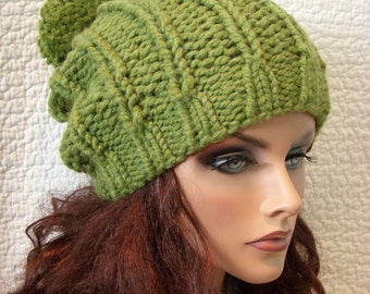 Green Apple Chunky Knit Hat with Pompom, Grass Green Beret Tam Beanie