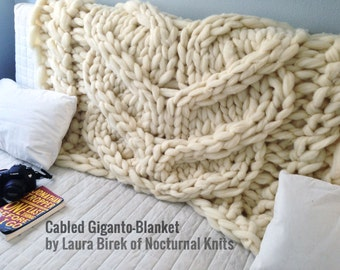 Cabled Giganto-Blanket Throw - MADE IN USA - custom-made, huge, chunky, giant hand-knit throw made from unspun wool roving